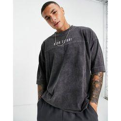 T-shirt oversize en tissu épais avec coutures contrastantes - délavé - ASOS Dark Future - Modalova