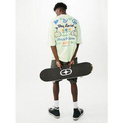 ASOS Daysocial - T-shirt oversize avec imprimés graphiques Peace and Love sur le devant et au dos - clair - ASOS Day Social - Modalova