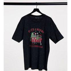 ASOS DESIGN Curve - Christmas - T-shirt avec imprimé famille squelette de Noël - Noir délavé - ASOS Curve - Modalova