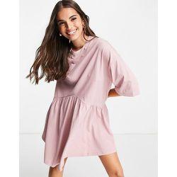 Robe babydoll courte oversize à taille basse - Rose thé - ASOS DESIGN - Modalova