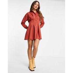 Robe chemise courte en popeline de coton froncée à la taille - Rouille - ASOS DESIGN - Modalova