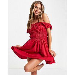Robe de plage froncée style milkmaid - ASOS DESIGN - Modalova