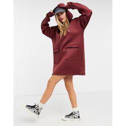 Robe sweat-shirt courte à capuche en néoprène - Bordeaux - ASOS DESIGN - Modalova