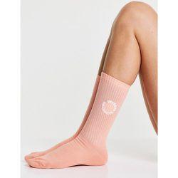 ASOS - Weekend Collective - Chaussettes longueur mollet côtelées à logo brodé - Abricot - ASOS Weekend Collective - Modalova