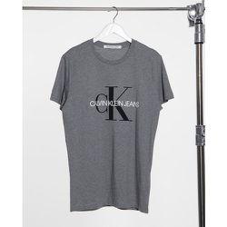 T-shirt ajusté à emblème monogramme - Gris - Calvin Klein Jeans - Modalova