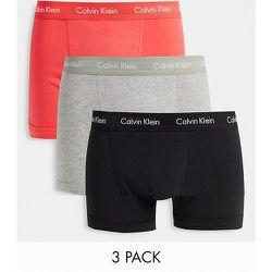 Lot de 3boxers à taille contrastante - Noir, gris et rose - Calvin Klein - Modalova