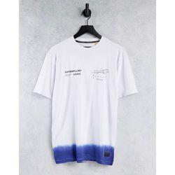 Caterpillar - T-shirt effet dip-dye avec logo et engin imprimés - /bleu - Cat Footwear - Modalova