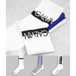 CK Jeans - Jesse - Lot de 3 paires de chaussettes côtelées à logo - Calvin Klein - Modalova