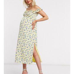 Robe longue à encolure Bardot avec fentes - Imprimé floral - Fashion Union Maternity - Modalova