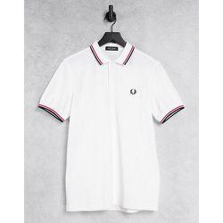 Polo avec logo et bordures à double liseré - /rouge/bleu marine - Fred Perry - Modalova