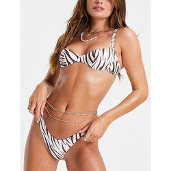 Bas de bikini échancré à imprimé zébré - Marron - Free Society - Modalova