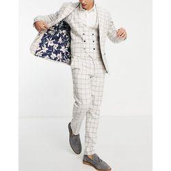 Pantalon de costume slim à carreaux - Crème - Gianni Feraud - Modalova