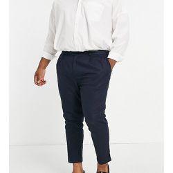 Plus - Pantalon plissé en lin - Bleu - Gianni Feraud - Modalova