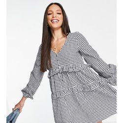 Robe courte en popeline de coton à carreaux vichy - Bleu - Influence Tall - Modalova