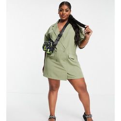 Lola May Plus - Robe blazer courte à rayures - Sauge - Lola May Curve - Modalova