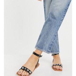 Sandales plates cloutées en deux parties pointure large à bout carré - London Rebel - Modalova