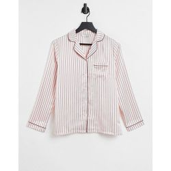 Chemise de pyjama rayée en satin - Crème - Loungeable - Modalova
