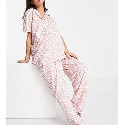 Maternity Plus - Ensemble pyjama long à imprimé léopard - Rose - Loungeable - Modalova
