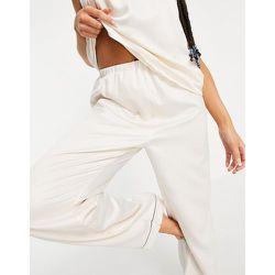 Mix and match - Pantalon de pyjama en satin avec passepoils noirs - Crème - Loungeable - Modalova