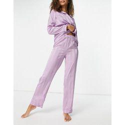 Pantalon en satin de jacquard à rayures - Lilas - Loungeable - Modalova