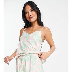 Petite - Ensemble pyjama avec caraco et short à imprimé palmier - Rose et vert - Loungeable - Modalova