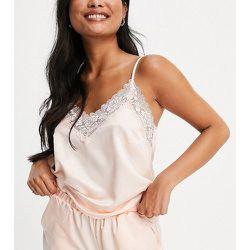 Petite - Top de pyjama effet satiné à bord en dentelle - Rose pâle - Loungeable - Modalova