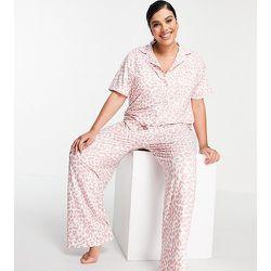 Plus - Ensemble pyjama long - Léopard rose - Loungeable - Modalova