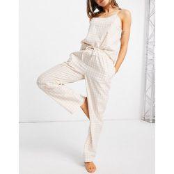 Pyjama avec pantalon et caraco à carreaux vichy - Naturel - Loungeable - Modalova