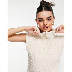 Débardeur zippé en tricot torsadé - Écru - Mango - Modalova