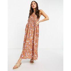 Robe à fleurs et encolure carrée avec détails en broderie anglaise au niveau des coutures - Mango - Modalova