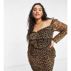 Robe moulante en tulle à imprimé léopard - NaaNaa Plus - Modalova