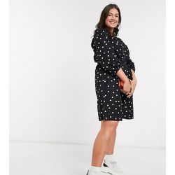 New Look Curve - Robe babydoll ceinturée en popeline à pois - New Look Plus - Modalova