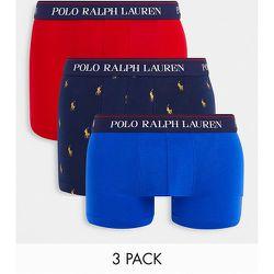 Lot de 3 boxers avec ceinture à inscription logo - Bleu/Bleu marine doré avec logo poney/rouge - Polo Ralph Lauren - Modalova