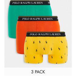 Lot de 3boxers avec logo texte sur la ceinture - Vert/orange/jaune avec logo poney - Polo Ralph Lauren - Modalova