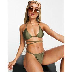 Bas de bikini échancré effet string - olive - Public Desire - Modalova