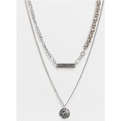 Inspired - Collier multirang à pendentif effet vieilli et perle fantaisie noire - poli - Reclaimed Vintage - Modalova