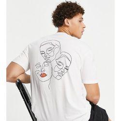 T-shirt oversize en coton biologique mélangé avec imprimé visages style dessin au dos - - Exclusivité ASOS - Selected Homme - Modalova