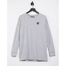 T-shirt de sport à manches longues et ourlet droit - chiné - SikSilk - Modalova