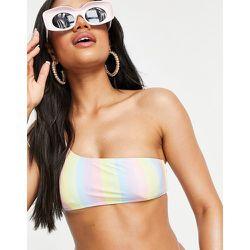 Haut de bikini asymétrique à rayures acidulées - South Beach - Modalova