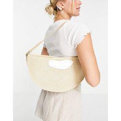 Sac porté épaule forme demi-lune avec fermoir façon coquillage - Crème - SVNX - Modalova
