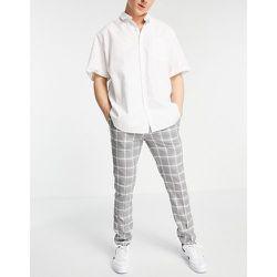 Pantalon ajusté à carreaux - Gris et blanc - Topman - Modalova