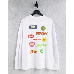 T-shirt manches longues oversize avec imprimés écussons à l'avant et au dos - Topman - Modalova