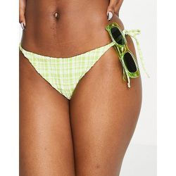 Bas de bikini noué sur les côtés à carreaux vichy - Topshop - Modalova