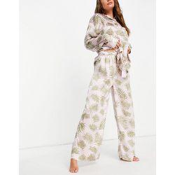 Pantalon de pyjama en satin à imprimé fougères - Topshop - Modalova