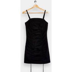 Petite - Robe courte froncée en satin - Noir - Topshop - Modalova