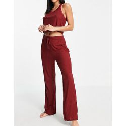 Pyjama avec caraco bordé de dentelle - Bordeaux - Topshop - Modalova