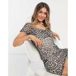 Robe courte en tulle à imprimé léopard - Noir et blanc - Topshop - Modalova