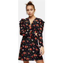 Robe courte froncée à la taille avec imprimé tulipes - Topshop - Modalova