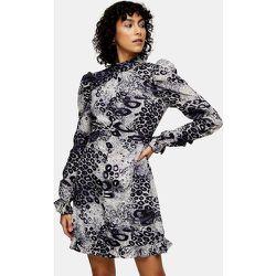 Robe courte froncée - Imprimé animal noir et blanc - Topshop - Modalova