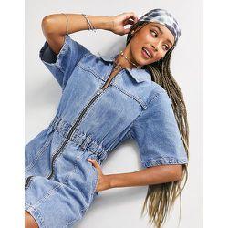 Robe en jean à manches courtes - moyen - Topshop - Modalova